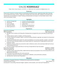 sample resume with accomplishments section executive assistant