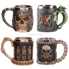 350ml double wall stainless steel 3d skull mugs 7 style coffee tea