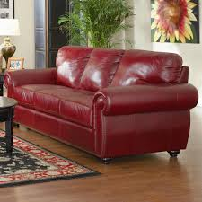 Red Laminate Flooring Angular Red Leather Sofa With Rectangle Brown Wooden Table Ad