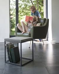 concrete and steel side table minimalist design perspective