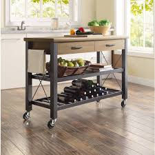 industrial iron wood kitchen trolley natural black buy kitchen microwave stands