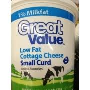 Daisy Low Fat Cottage Cheese by Great Value Lowfat Small Curd Cottage Cheese Calories Nutrition