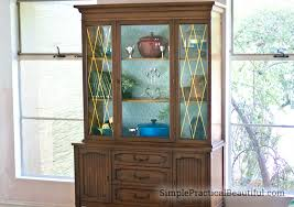 Display Dishes In China Cabinet Adding Color To A Cabinet With Removable Wallpaper Simple