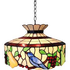 Glass Fruit Chandelier by Large Stained Glass Chandelier Birds Fruit Light Fixture Sold On
