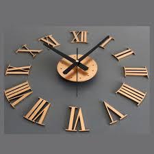Home Decoration Art Metallic Diy Wall Clock 3d Roman Font Stickers Home Decor Art