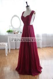 wine red burgundy chiffon bridesmaid dress prom dress see through