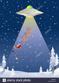 deliver presents santa being abducted by a flyinc saucer while trying to deliver