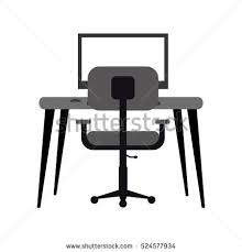 Armchair Desk Office Desk Computer Notebook Light Pen Stock Illustration