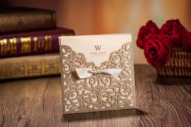 Wedding Invitation Cards Online Free Laser Cut Wedding Invitations Cards Gold Ribbon Hollow Wedding