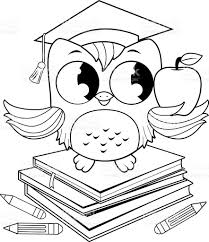owl on books with graduation hat stock vector art 597960404 istock