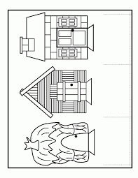pigs houses coloring pages coloring pages kids