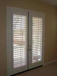 Patio Door Venetian Blinds Interior White French Door Window With Wood Shutter On In Open