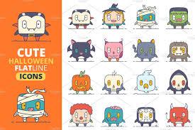 Cute Halloween Vector Cute Flat Halloween Characters Vol 1 Illustrations Creative Market