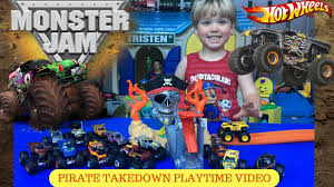 old monster truck videos wheels monster jam pirate takedown playset unboxing and