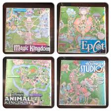 make use of those disney park maps with these easy to make coasters