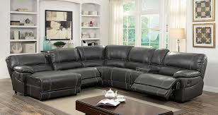 Sectional Sofas With Recliners by Furniture Of America 6131gy Gray Reclining Chaise Console