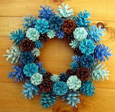 pine cone wreath handmade earthy shades of blue pine cone wreath center