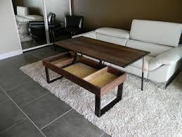 minimalist brown oak lift up coffee table mixed fur rug