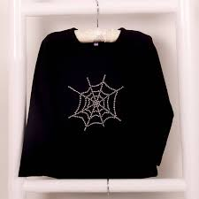 Halloween T Shirt by Diamante Halloween T Shirt Cobweb And Pumpkin By Candy Bows