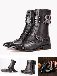 visit to buy gothic punk boots men leather pu pointed toe in tube