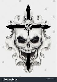 cross tatoo images skull cross tattoo hand drawing on stock illustration 223249003
