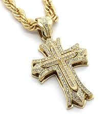 fashion gold cross necklace images Mens large thick cross gold tone iced out pendant 30 quot 10mm jpg