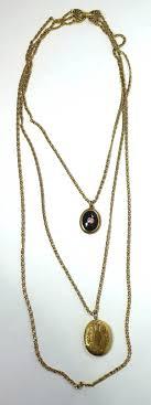 vintage necklace chains images Vintage signed goldette multi chain locket and floral pendants JPG