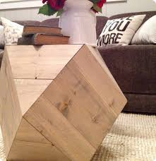 Wood Block Side Table Geometric Faceted Side Table