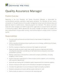 sle cv for quality analyst quality assurance managerposition overviewreporting to the vice