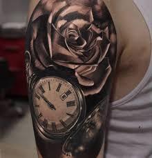 3d realistic clock with beautiful rose tattoo golfian com