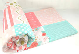 baby blanket minky blanket crib bedding blush pink mint