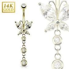 cercel de buric din aur atarnand 14k aur burtă inel piercing bijuterii