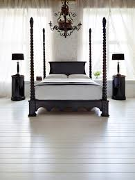Black Poster Bed Bedroom Four Poster Style Black Canopy Bed With Green Tufted