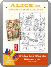 alice in wonderland coloring cards