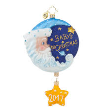 christopher radko 2017 baby ornaments sleepytime santa blue baby boy
