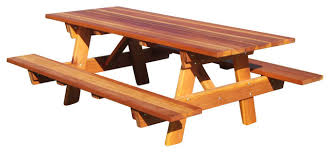 rustic outdoor picnic tables 4 picnic table with attached bench and umbrella hole rustic