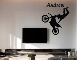 motocross wall sticker with custom name 25 dirt bike wall decal decor motocross wall sticker motocross wall decal tv wall