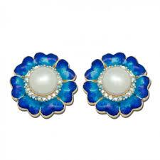 blue stud earrings blue flower vintage 925 silver pearl flower enamel