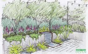 vertical wall water feature sketch landscape sketches and