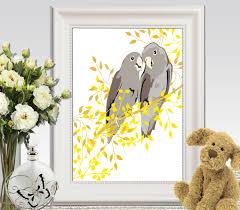birds wall art printable cockatoo print yellow gray home decor