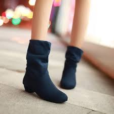 womens boots low heel winter boots low heeled velvet wool boots solid color plain brief