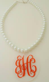 pearl monogram necklace monogram necklace pearl style necklace with monogram acrylic