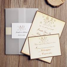 rustic vintage pocket fall wedding invitations with rsvp cards