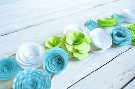 teal flowers garland paper flowers white teal lime baby boy shower