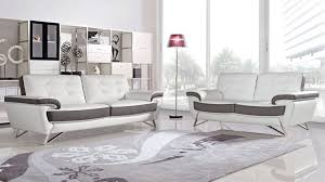 Sofa And Loveseats Sets Nala Tufted Leatherette Sofa Set With Polished Steel Legs White