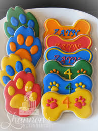 paw patrol theme royal icing painted shortbread cookies in the