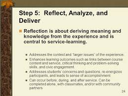 Service Learning Reflection and Assignments Structured Journals  fact  feeling  and relationship