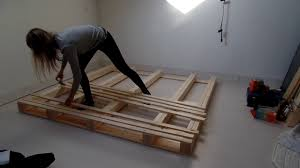 How To Make A King Size Platform Bed With Pallets by Pallet Bed Frame Diy Youtube