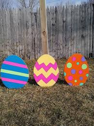 Easter Outdoor Decorations by Easter Eggs Outdoor Wood Yard Art Lawn Decoration