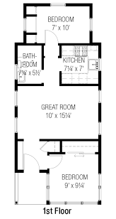 Floor Plan Of A 2 Bedroom House Cottage Style House Plan 2 Beds 1 Baths 557 Sq Ft Plan 915 16